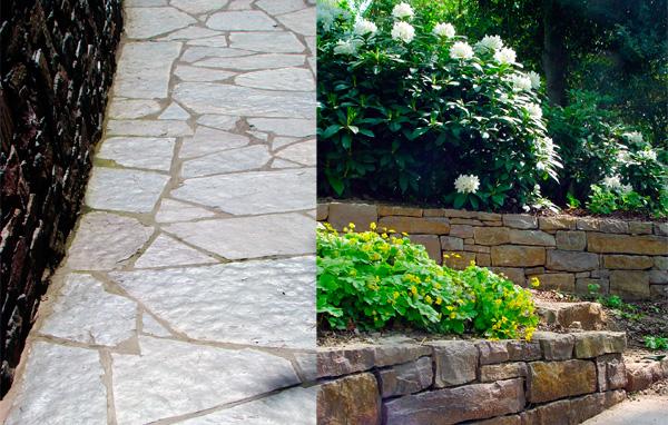 """À gauche, des grès """"schisteux"""" sont extraits dans l'est de la Belgique et près de la vallée de la Semois. Le lit de la pierre peut présenter des chatoyances agréables en revêtement d'allée. La tranche de la pierre est par contre d'un gris mat intéressant à utiliser en escalier ou pour un plateau de table. Conception : Grondal et associés. À droite le grès du Condroz, une région verdoyante au nord de l'Ardenne. Conception: Serge Delsemme."""