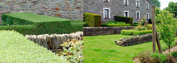 Dans ce jardin ardennais Serge Delsemme réinterprête la tradition du mur en pierre sèche en «crêtes à cayaux» que l'on retrouve encore dans nos terroirs. Les pierres de schiste verticales rappellent, à des niveaux différents, les lignes des haies du jardin : elles accentuent le graphisme du jardin. Plus loin ces murs créent de jolies chambres de verdure.