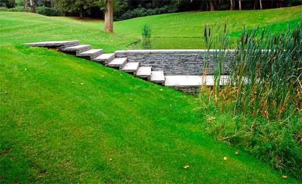 Un escalier caresse la pelouse d'un petit vallon, longe un étang et à lui seul fait comprendre l'ensemble du paysage. Conception : Paul Deroose.