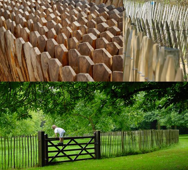 Légères et s'insérant à merveille dans les paysages, les ganivelles de châtaigniers ont séduit plus d'un jardinier. Plus opaques, certaines clôtures  prennent aussi avec le temps des teintes gris argentées d'une grande douceur.