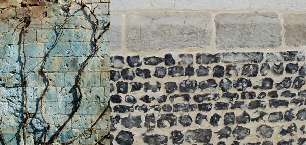 la pierre témoin des pratiques architecturales et horticoles. A gauche un mur du jardin bleui par les traitements au cuivre appliquée aux fruitiers palissés, à droite, un mur dans le village d'Argoules, mélant moellons de calcaire bien taillés et rognons de silex à la base.