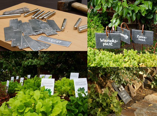 les matériaux à disposition pour réaliser des étiquettes sont très variés et s'adaptent ainsi facilement à l'endroit du jardin, aux types de plantes, au design des lieux.