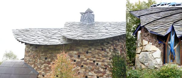 Un toit à l'ancienne de lauzes de schiste abrite un corps de maison en maçonneries d'arkose. / Eupen / conception Yves Delhez Plusieurs plaques recouvertes d'écailles d'ardoises, comme une carapace défensive, pour une forme résolument originale. / Eupen / conception Yves Delhez