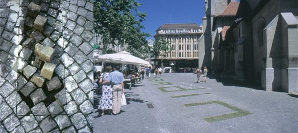La découpe des pavés de la Place Saint François à Lausanne, un préalable à une écriture vivante sur le sol.